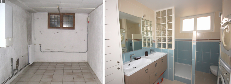Petite salle de bain sous comble avec wc for Petite chambre avec salle de bain