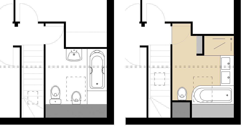 Plan salle de bain douche et baignoire excellent - Plan salle de bain wc ...