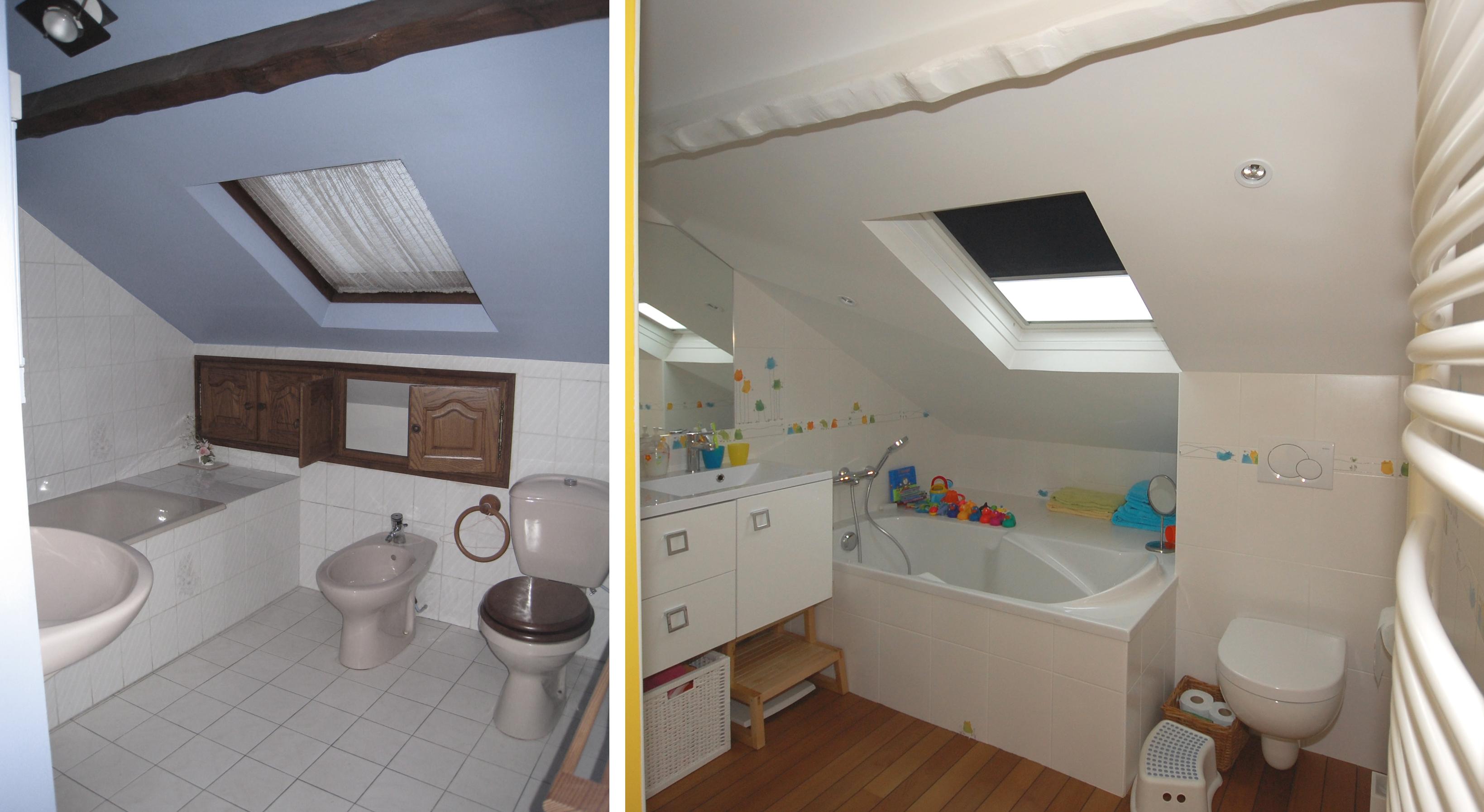 R novation d 39 une maison de 100 m - Amenagement petite salle de bain sous pente ...