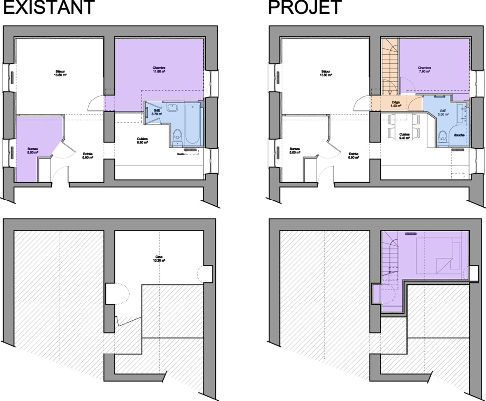 Un 50 m agrandi en souplex de 60 m for Chambre 9 metre carre
