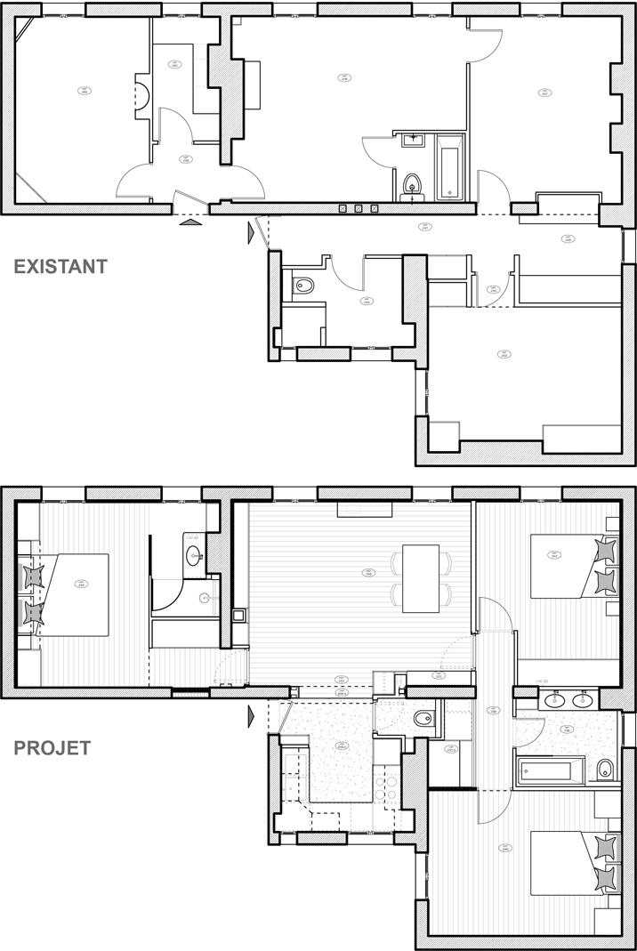 Réunion de deux appartements
